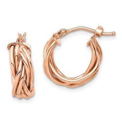 14k Rose Polished Braided Hoop Earrings - 39 mm