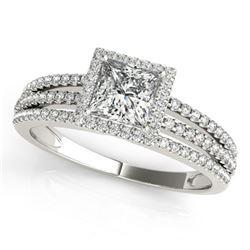 Natural 0.76 ctw Cushion Diamond Halo Ring 14k White Gold