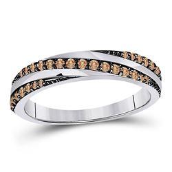 14kt White Gold Womens Round Brown Diamond Diagonal Stripe Band Ring 1/4 Cttw