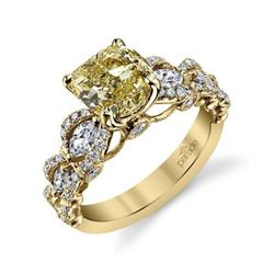 Natural 2.12 CTW Canary Light Yellow Cushion Cut Diamond Ring 18KT Yellow Gold