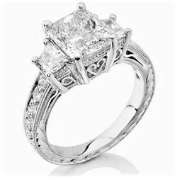 Natural 4.02 CTW Radiant Cut & trapezoids Diamond Ring 14KT White Gold