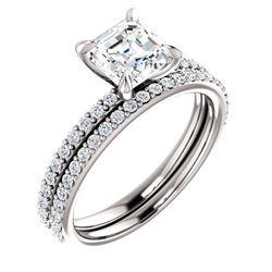 Natural 1.92 CTW Square Asscher Cut Diamond Engagement Set 18KT White Gold
