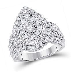 14kt White Gold Womens Round Diamond Teardrop Cluster Ring 1-1/2 Cttw