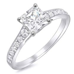 Natural 1.34 CTW Radiant Cut Diamond with Round Cut Accents Engagement Ring 18KT White Gold