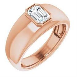 Natural 0.72 CTW Bezel Set Emerald Cut Men's Diamond Ring 14KT Rose Gold
