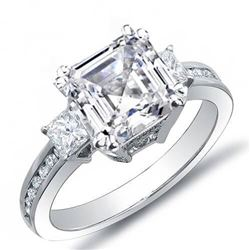 Natural 2.89 CTW Asscher Cut w/ Princess & Round Cut Diamond Engagement Ring 18KT White Gold