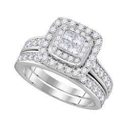 14kt White Gold Princess Diamond Bridal Wedding Ring Band Set 1-3/8 Cttw