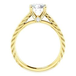 Natural 1.12 CTW Round Cut Rope Style Diamond Engagement Set 18KT Yellow Gold