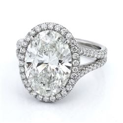 Natural 3.82 CTW Halo Oval Cut Split Shank Diamond Engagement Ring 18KT White Gold