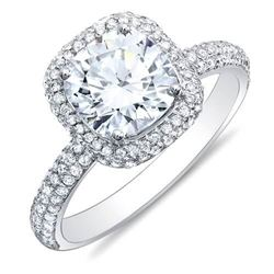 Natural 2.81 CTW Cushion Cut Micro Pave Halo Round Diamond Engagement Ring 14KT White Gold