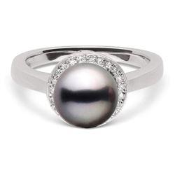 Black Tahitian Pearl and Diamond Halo Ring, 8.0-9.0mm