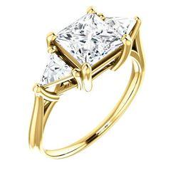 Natural 2.62 CTW 3-Stone Princess Cut & Trillion Cut Diamond Ring 14KT Yellow Gold