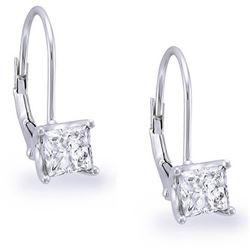 Natural 1.12 CTW Lever Back Princess Cut Diamond Earrings 18KT White Gold