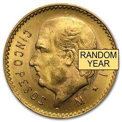 Mexico Gold 5 Pesos AGW .1205 AU-BU (Random Year)
