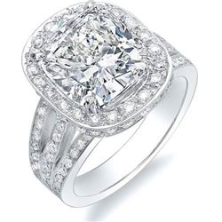 Natural 4.24 CTW Cushion Cut Halo Split Shank Diamond Engagement Ring 14KT White Gold