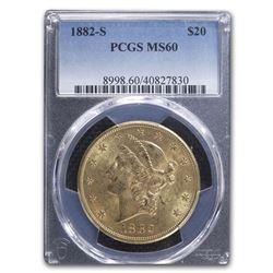 1882-S $20 Liberty Gold Double Eagle MS-60 PCGS