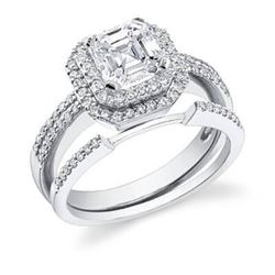 Natural 1.52 CTW Halo Asscher Cut Diamond Engagement Set 18KT White Gold