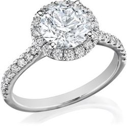 Natural 2.77 CTW Halo Round Cut Diamond Engagement Ring 18KT White Gold