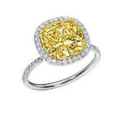 Natural 2.12 CTW Halo Light Yellow Canary Cushion Cut Diamond Ring 18KT White Gold