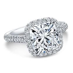 Natural 2.92 CTW Top Side Halo Cushion Cut Diamond Engagement Ring 18KT White Gold