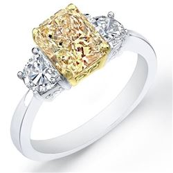 Natural 3.92 CTW Yellow Canary Radiant Cut & Half Moon Diamond Ring 18KT Two-tone