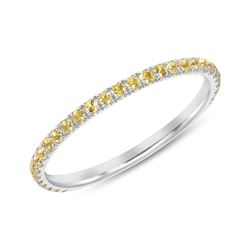 Natural 0.37 CTW Yellow Diamond Eternity Ring 18KT White Gold