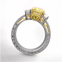 Natural 4.62 CTW Canary Light Yellow Cushion Cut Diamond Engagement Ring 18KT Two-tone