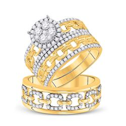 14kt Yellow Gold His Hers Round Diamond Cluster Matching Wedding Set 1-3/8 Cttw