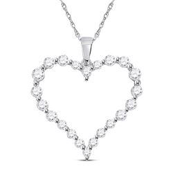 14kt White Gold Womens Round Diamond Outline Heart Pendant 1 Cttw