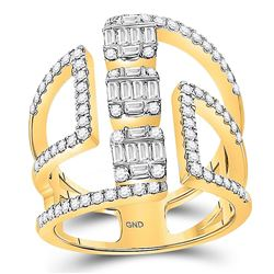14kt Yellow Gold Womens Baguette Diamond Triple Cluster Fashion Ring 7/8 Cttw