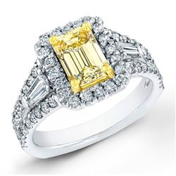 Natural 3.22 CTW Canary Light Yellow Emerald Cut Diamond Ring 18KT Two-tone