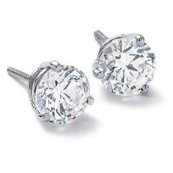 Natural 0.72 CTW Round Brilliant Cut Diamond Stud Earrings 14KT White Gold