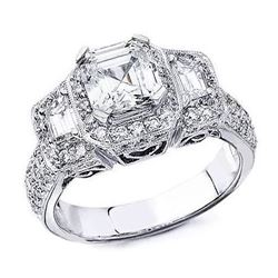 Natural 2.22 CTW Halo 3-Stone Asscher Cut Diamond Ring 14KT White Gold