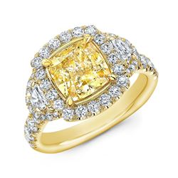 Natural 4.12 CTW Canary Yellow Halo Cushion Cut Diamond Ring 14KT Yellow Gold