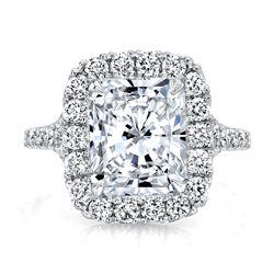 Natural 2.87 CTW Halo Radiant Cut Split Shank Diamond Ring 18KT White Gold