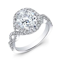 Natural 2.27 CTW Oval Cut Diamond Twist Shank Halo Engagement Ring 18KT White Gold