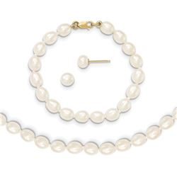 14k Gold 5-6 mm Cultured Pearl Bracelet, Necklace & Earrings