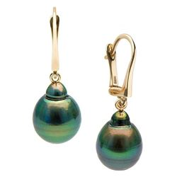 Black Tahitian Drop-Shape Pearl Dangle Earrings