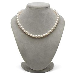 White Hanadama Japanese Akoya Pearl Necklace, 8.5-9.0mm
