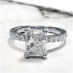 Natural 2.62 CTW Radiant Cut Diamond Engagement Ring 18KT White Gold