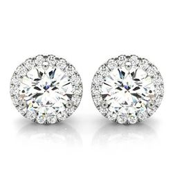 Natural 1.42 CTW Halo Round Brilliant Cut Diamond Stud Earrings 18KT White Gold