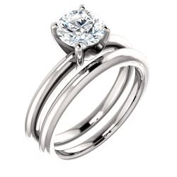 Natural 1.72 CTW Round Cut Solitaire Diamond Ring 18KT White Gold