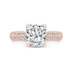 Natural 2.52 CTW Cushion Cut Micro Pave Diamond Engagement Ring 14KT Rose Gold
