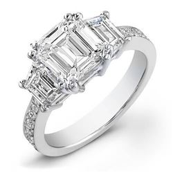 Natural 2.82 CTW Emerald Cut & Trapezoids Diamond Engagement Ring 18KT White Gold