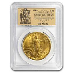 1908 $20 St Gaudens Dbl Eagle No Motto BU PCGS (Prospector Label)