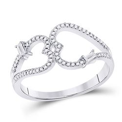 14kt White Gold Womens Round Diamond Double Heart Ring 1/5 Cttw