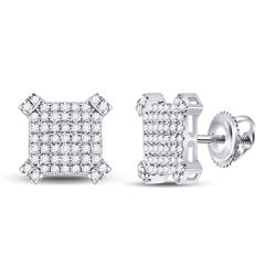 14kt White Gold Mens Round Diamond Squared Cluster Earrings 1/3 Cttw