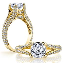Natural 3.52 CTW Cushion Cut Split Shank Diamond Engagement Ring 14KT Yellow Gold