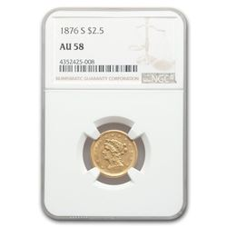 1876-S $2.50 Liberty Gold Quarter Eagle AU-58 NGC