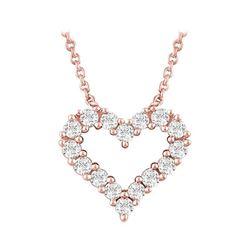 Natural 0.27 CTW Heart Outline Diamond Necklace 18KT Rose Gold